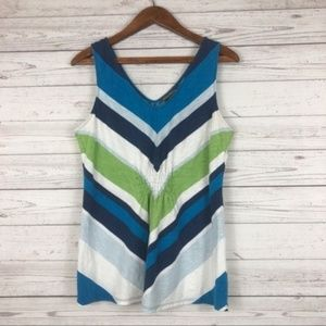 Tommy Bahama Blue Green Stripe Sleeveless Top